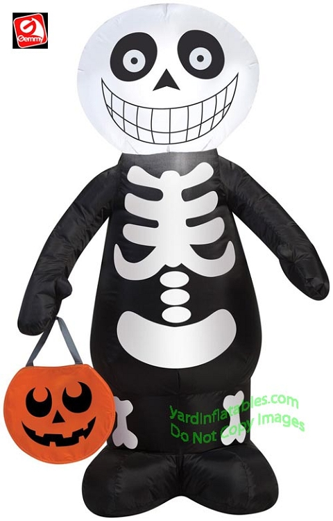 3 1/2' Gemmy Airblown Inflatable Skeleton Boy Holding Pumpkin Tote