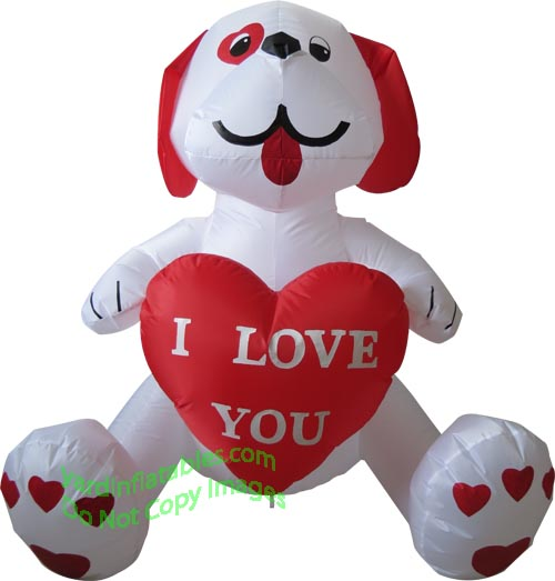6' Air Blown Inflatable Valentine's Day WHITE Puppy Holding