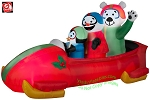 7' Gemmy Airblown Inflatable Animated Shaking Penguin And Friends In Bobsled