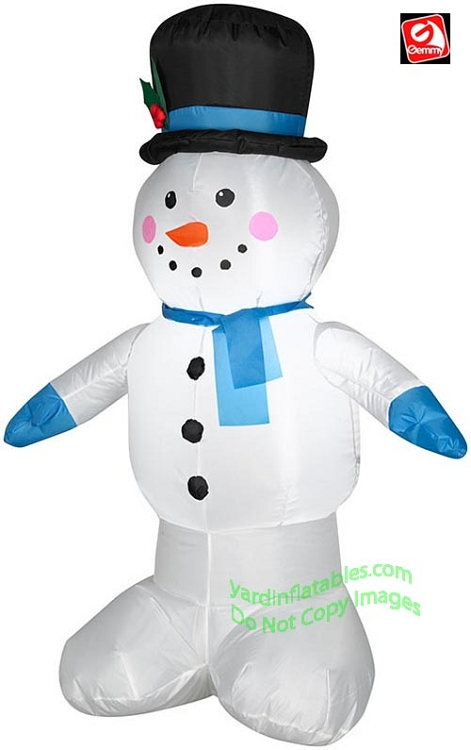 4' Gemmy Airblown Inflatable Snowman Standing Wearing Top Hat