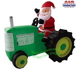 6 1/2' Air Blown Inflatable Santa Claus On Tractor