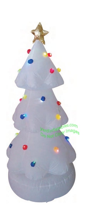 6' Air Blown Inflatable LED White Color Changing Christmas Tree