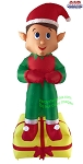 7' Air Blown inflatable Santa's Elf On Present