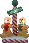 5 1/2' Air Blown Inflatable Gingerbread Couple at North Pole