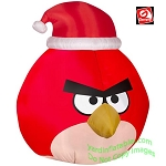 5' Gemmy Airblown Inflatable Red Angry Birds Wearing Santa Hat