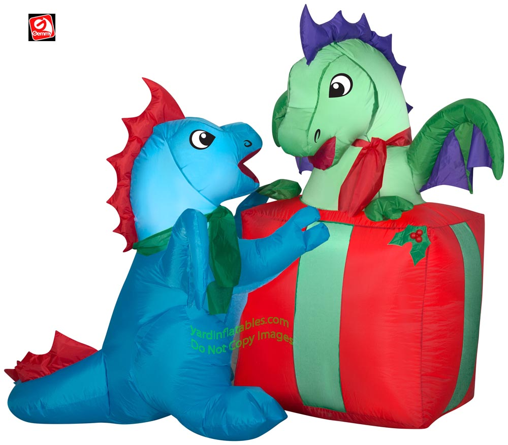 5' Gemmy Airblown Inflatable Baby Dragons with Christmas Present