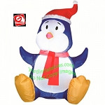 3 1/2' Blue Baby Penguin Wearing Santa Hat