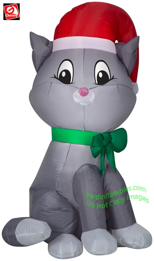 3 1/2' Gemmy Airblown Inflatable Christmas Cat w/ Santa Hat