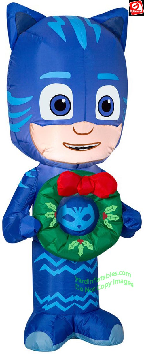 3 1/2' Gemmy Airblown Inflatable PJ Masks CATBOY Holding Christmas Wreath