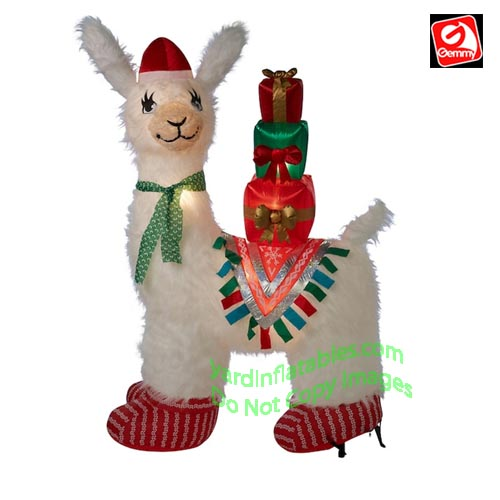 7' Gemmy Airblown Mixed Media Inflatable Christmas Lux Llama