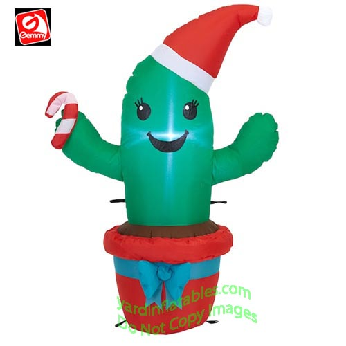 3 1/2' Gemmy Airblown Inflatable Christmas Cactus w/ Candy Cane