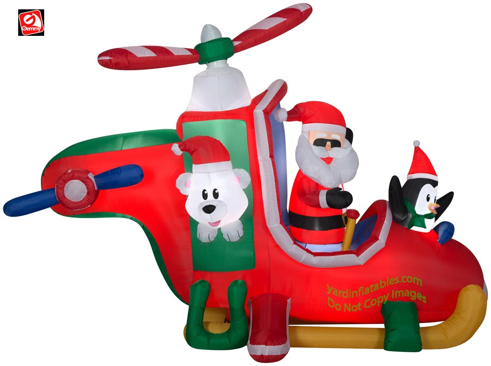 9' Gemmy Airblown Animated Inflatable Santa Helicopter Scene