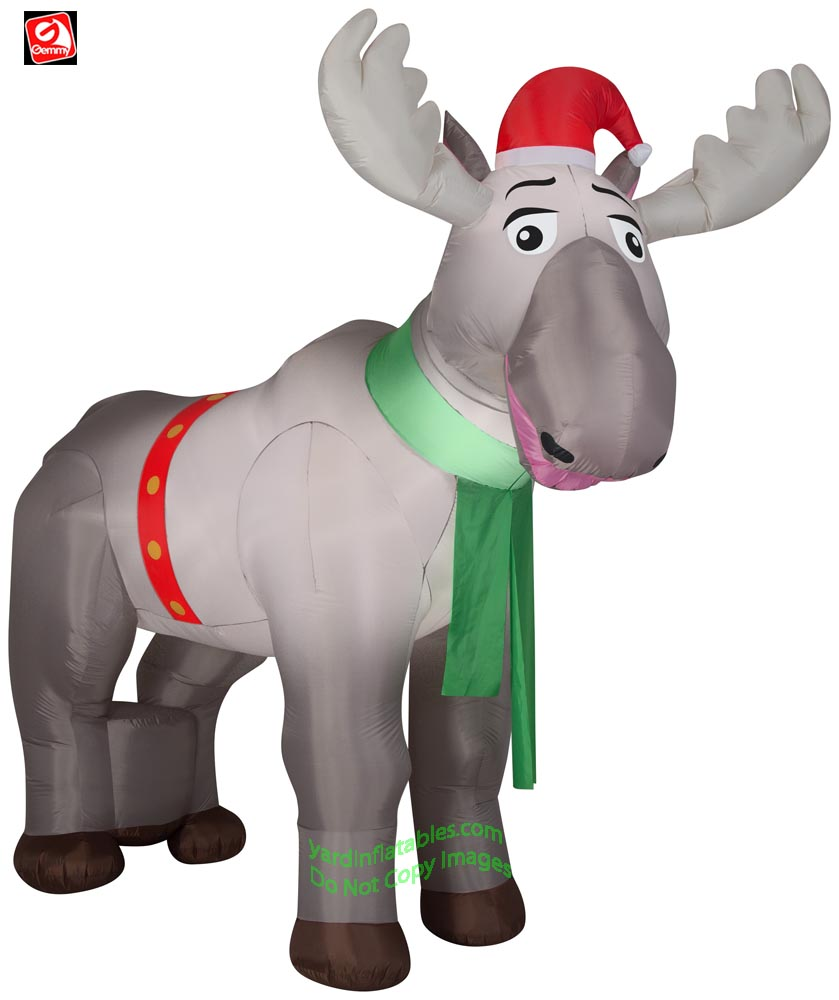 8 1/2' Gemmy Airblown Inflatable Giant Christmas Moose