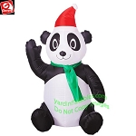 3 1/2' Gemmy Airblown Inflatable Christmas Panda w/ Santa Hat