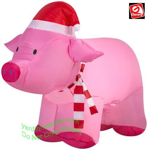 Christmas Pig.3 Christmas Pig Wearing Christmas Hat