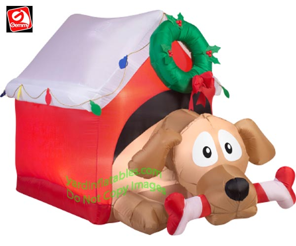 5 1/2' Gemmy Airbblown Inflatable Animated Dog In Doghouse w/ Candy Cane Bone