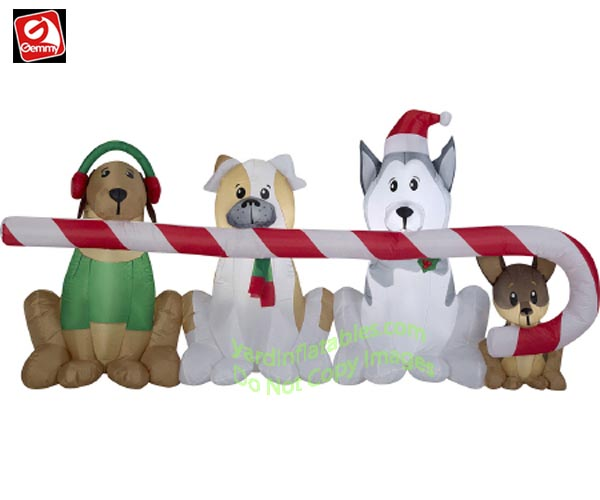 8' Gemmy Airblown inflatable Puppies Sharing A Candy Cane Scene