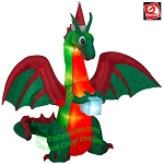 8' Gemmy Airblown Inflatable Kaleidscope Christmas Dragon w/ Flaming Mouth and Present
