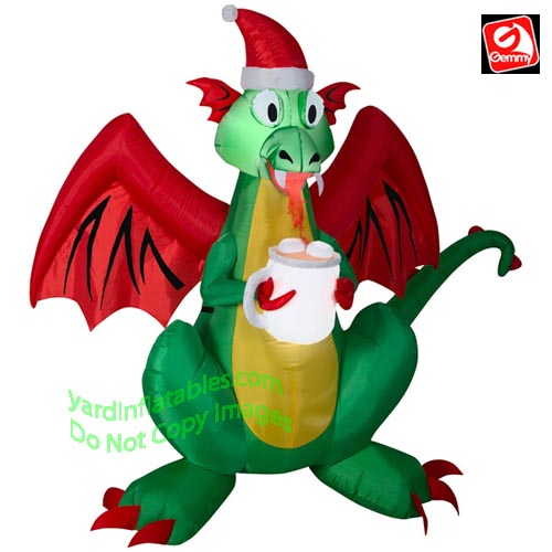 Inflatable Christmas Dragon.6 1 2 Fire Breathing Dragon W Hot Cocoa
