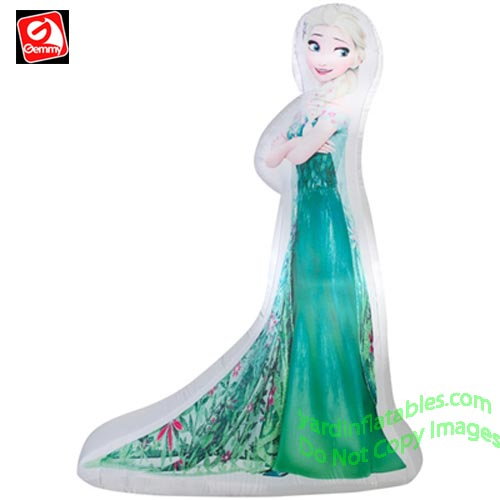 5' Gemmy Airblown Inflatable Photorealistic Elsa In Frozen Fever Dress