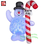 6' Gemmy Airblown Inflatable KALEIDOSCOPE Frosty With North Pole Sign
