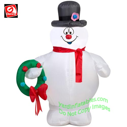 3 1/2' Gemmy Airblown Inflatable Frosty The Snowman Holding A Wreath
