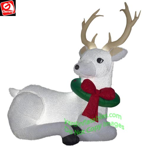 8 1/2' Gemmy Airblown Inflatable Mixed Media White Christmas Buck Deer