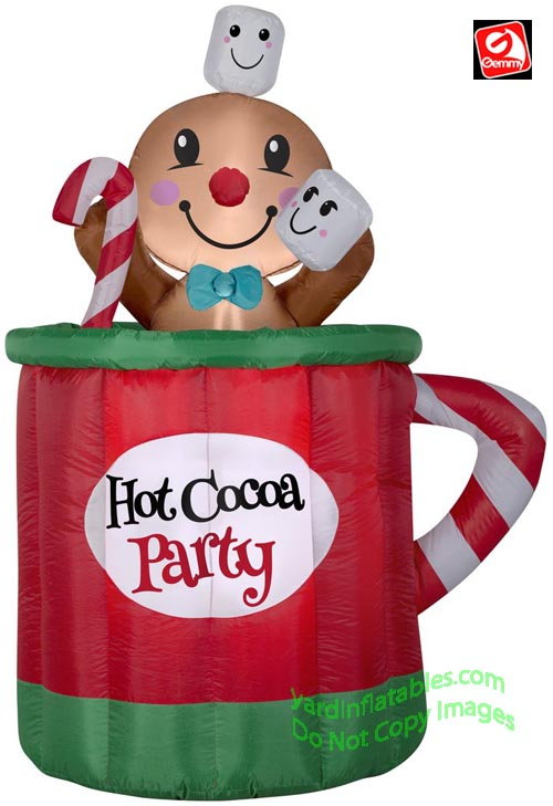 5' Gemmy Airblown Inflatable Animated Gingerbread Man in Hot Cocoa Mug