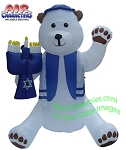 7' Air Blown Inflatable Hanukkah Bear Holding Menorah
