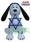 7' Air Blown Inflatable Hanukkah Dalmatian Puppy Dog Star
