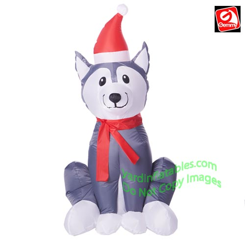 3 1/2 Gemmy Airblown Inflatable Christmas Husky w/ Santa Hat