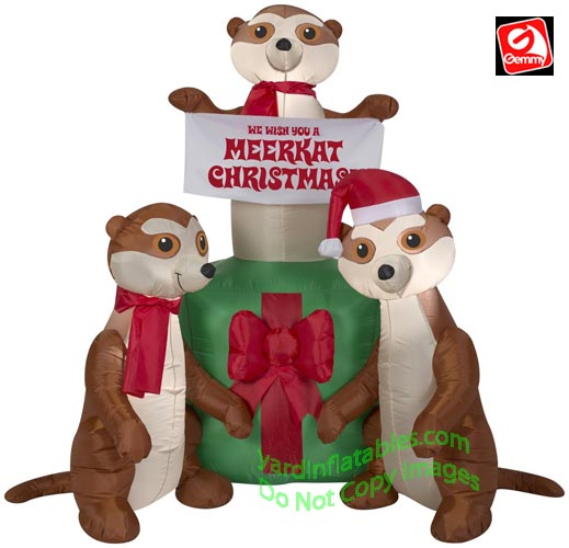 5' Gemmy Airblown Inflatable Meerkat Christmas Gift Scene