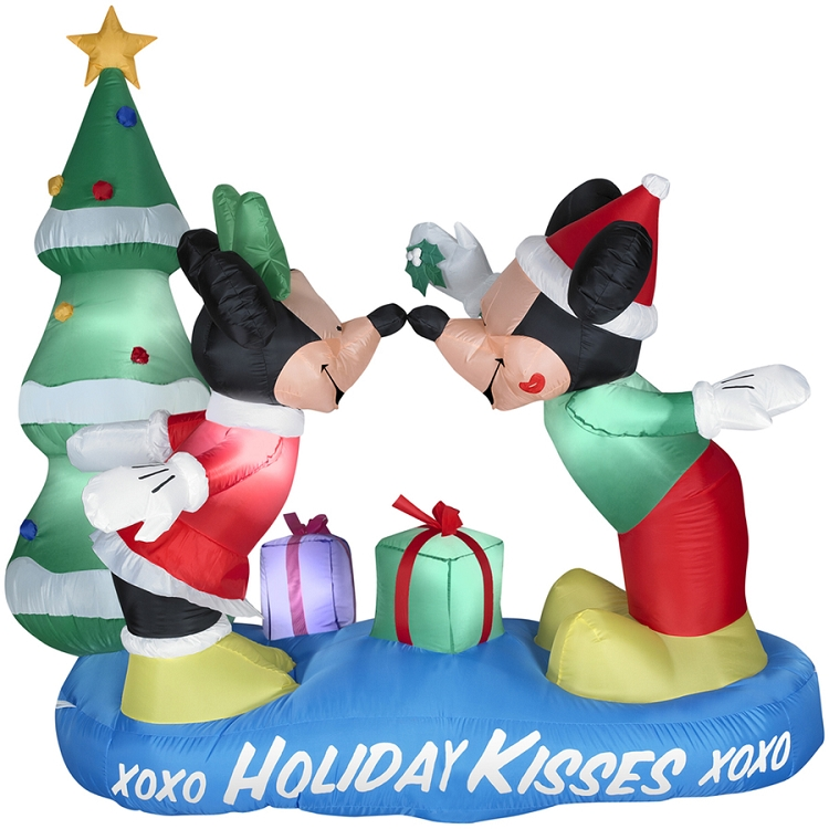 5 1/2' Gemmy Airblown Inflatable Mickey and Minnie Mouse Under Mistletoe