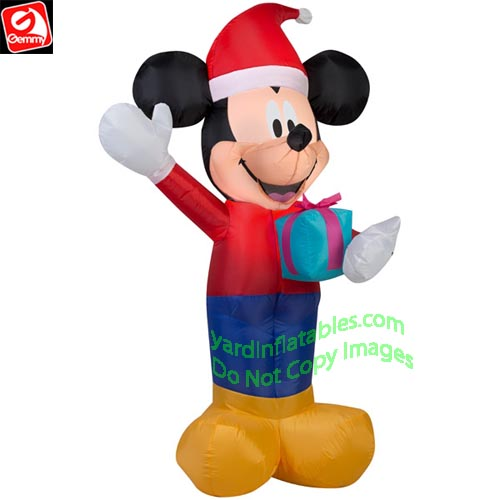 3 1/2' Gemmy Airblown Inflatable Mickey Mouse w/ Present