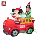 6' Gemmy Airblown Inflatable Disney Mickey Mouse And Goofy In Vintage Fire Truck