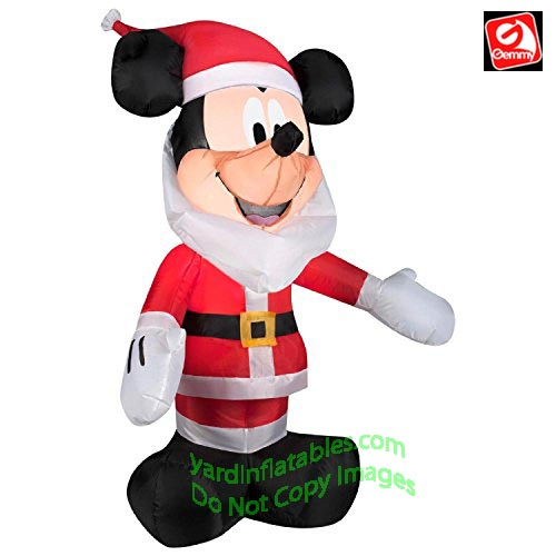 3 1/2' Gemmy Airblown Inflatable Mickey Mouse With Santa Beard