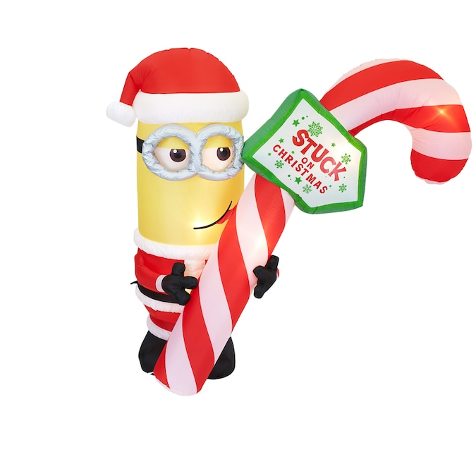 7' Gemmy Airblown Inflatable Minion Kevin with Tongue Stuck to Candy Cane!