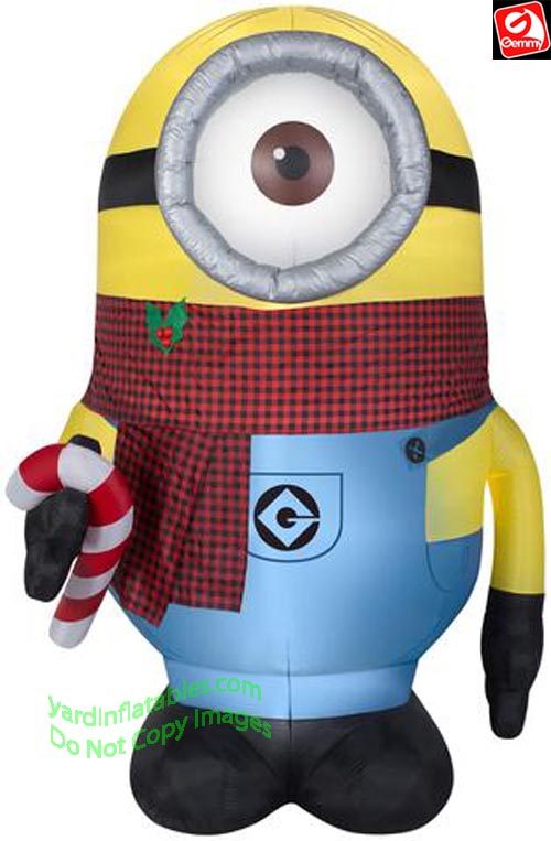 9' Gemmy Airblown Inflatable Minion Stuart w/ Paid Scarf Holding Candy Cane