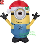 3 1/2' Minion CARL Wearing Santa Hat