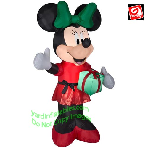 6' Gemmy Airblown Inflatable Minnie Mouse Holding A Present