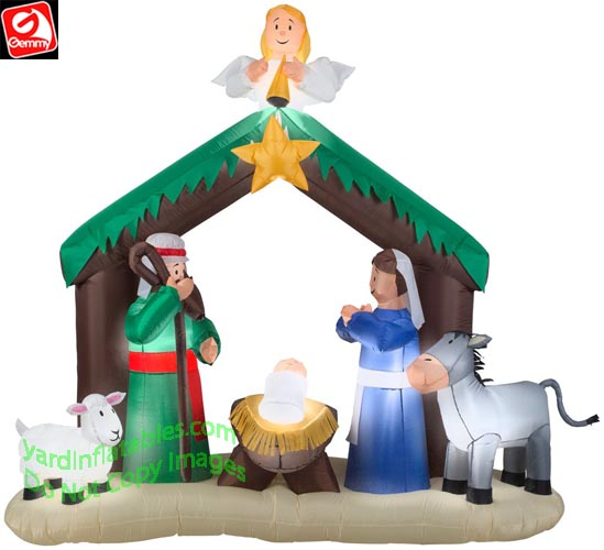 7' Gemmy Airblown Inflatable Nativity Scene w/ Angel & Star