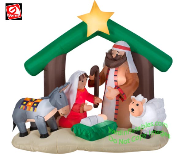 6' Gemmy Airblown Inflatable Holy Family Nativity Scene w/ Donkey & Sheep