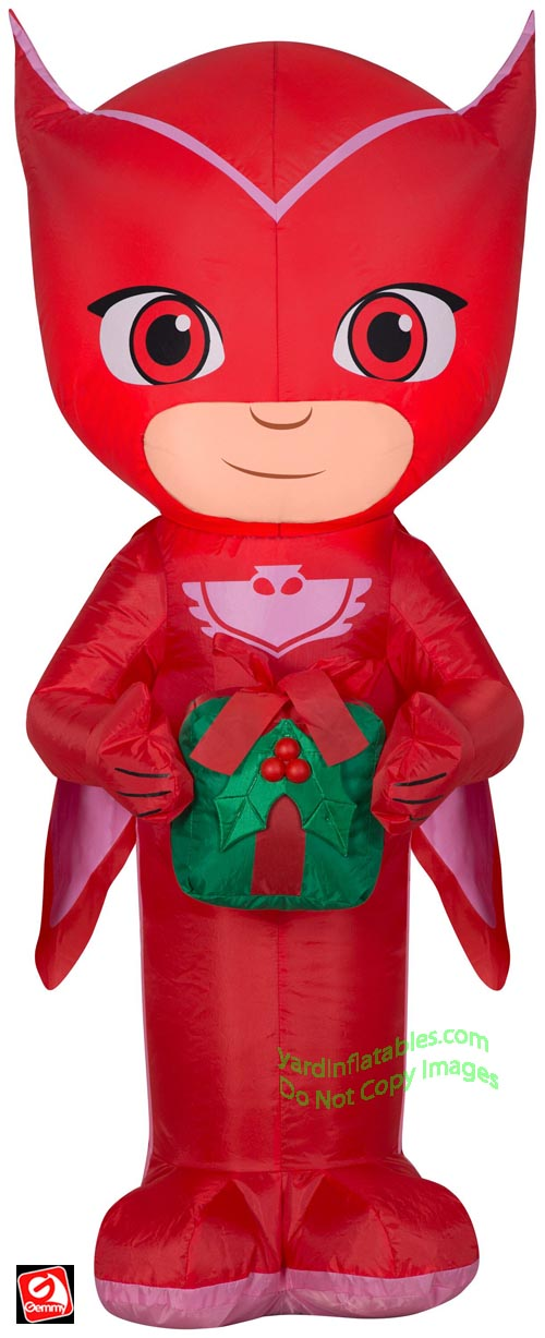 3 1/2' Gemmy Airblown Inflatable PJ Masks Owlette Holding A Present
