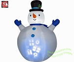 7' Panoramic Projection Snowman Wearing Top Hat