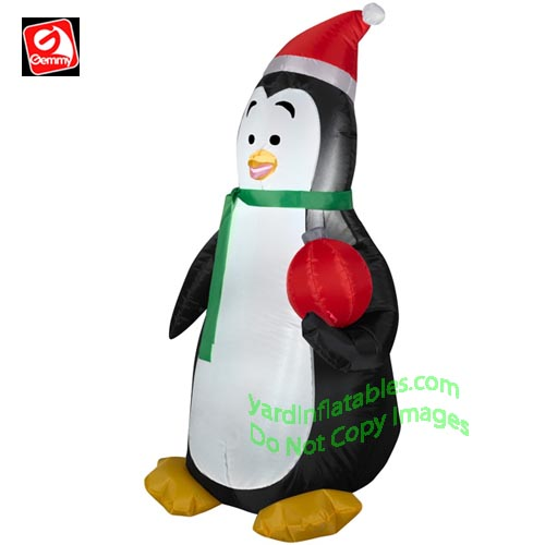 3 1/2' Penguin Wearing Santa Hat Holding Red Ornament