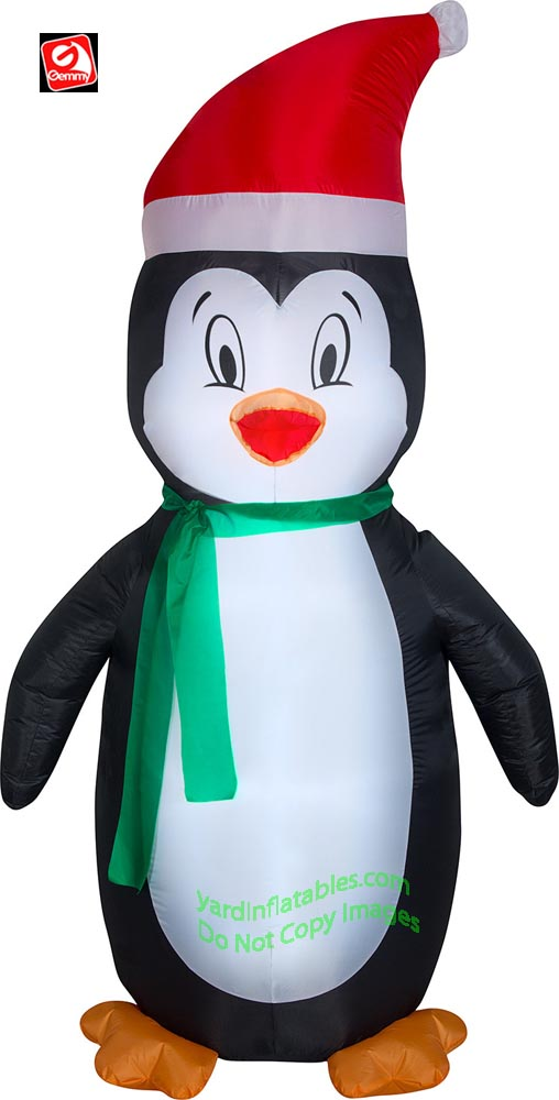 7' Gemmy Airblown Inflatable Penguin Wearing Santa Hat & Green Scarf