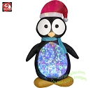 7 1/2' Gemmy Airblown Inflatable KALEIDOSCOPE Penguin Wearing Santa Hat
