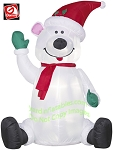 4' Sitting Polar Bear Waving
