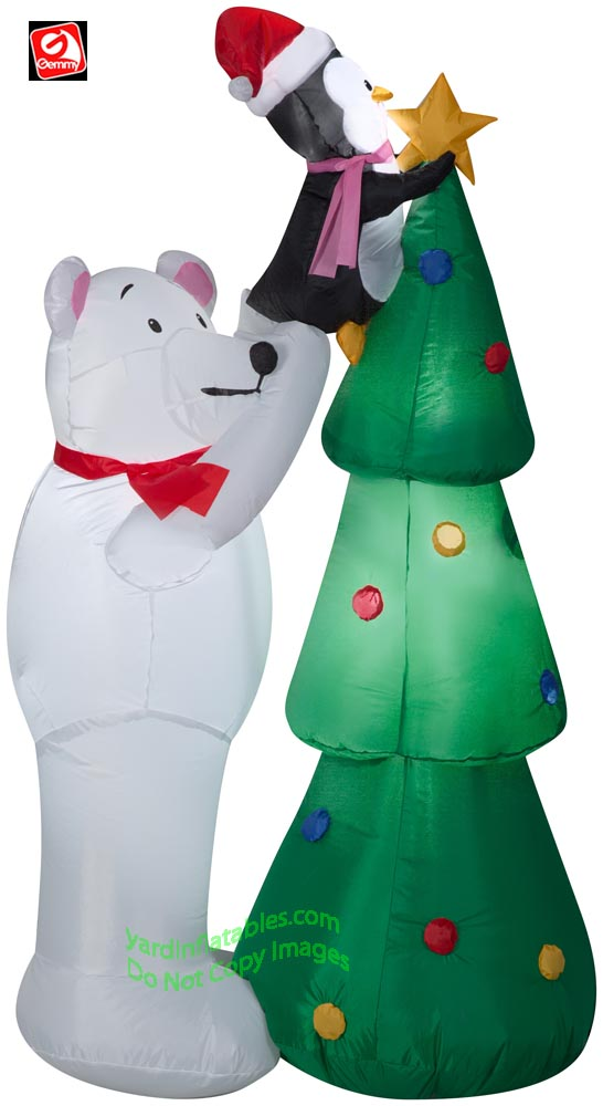 5' Gemmy Airblown Inflatable Polar Bear and Penguin Decorating Christmas Tree
