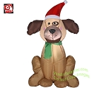 3 1/2' Gemmy Airblown Inflatable Christmas Puppy Dog Wearing Santa Hat